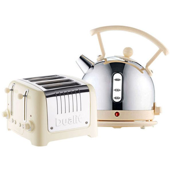Dualit Dome Kettle and 4 Slot Toaster Bundle - Cream (€145) ❤ liked on Polyvore featuring home, kitchen & dining, small appliances, stainless kettle, cream kettle, four slot toaster, cordless kettle and stainless toaster