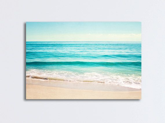 Ocean Canvas Gallery Wrap, large beach landscape wall art aqua blue ...