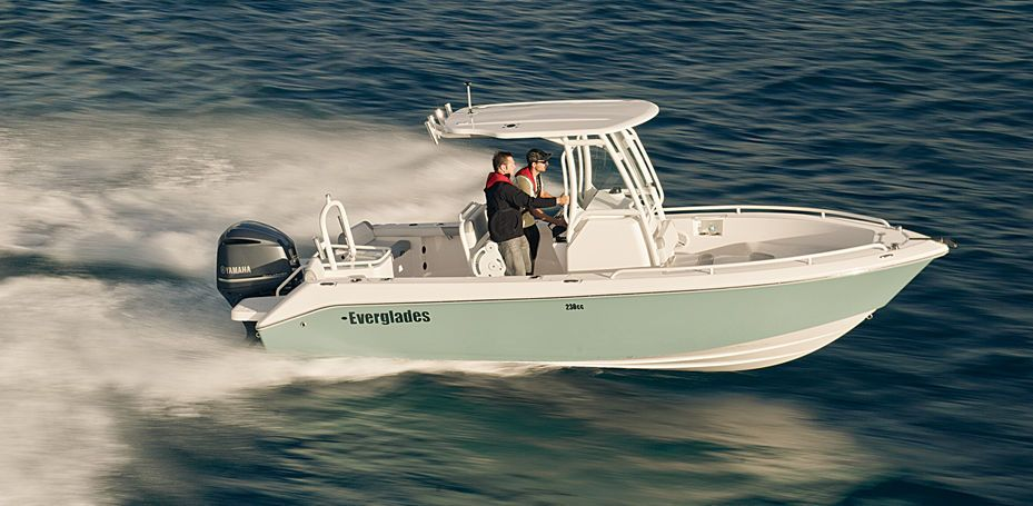 Single engined Everglades center console boat with hard