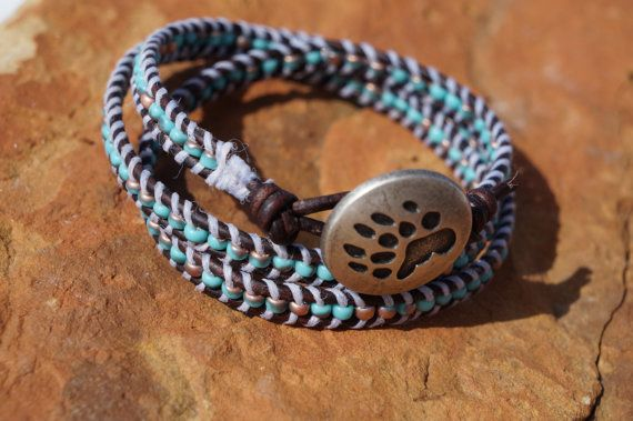Boho  Native  Woven Leather Wrap Faded Blue by fleurdesignz