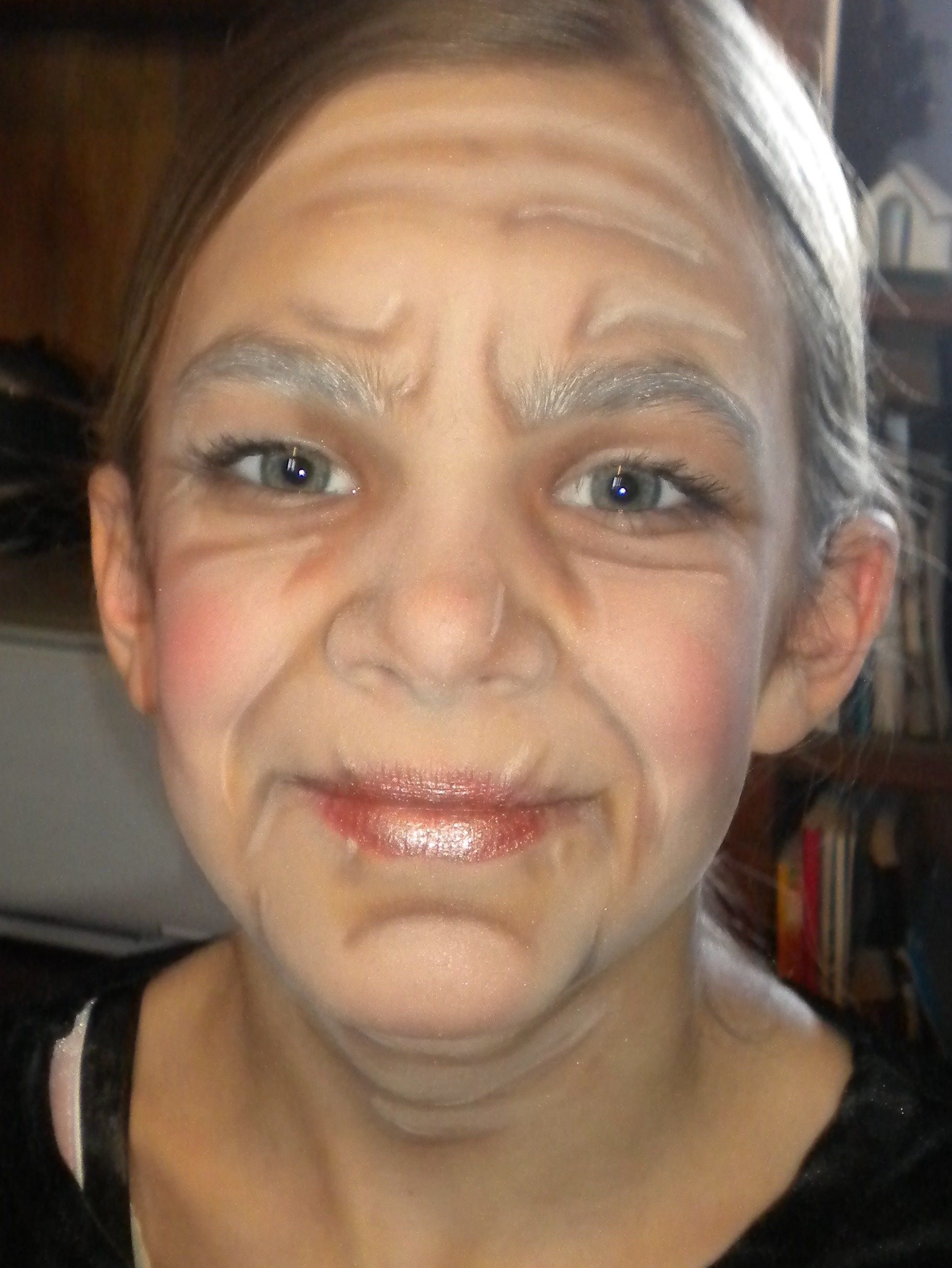 my 11 year old in stage make up for her role as Granny in Little ...