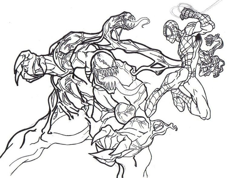 Venom Coloring Pages Free Printable Dibujos Marvel