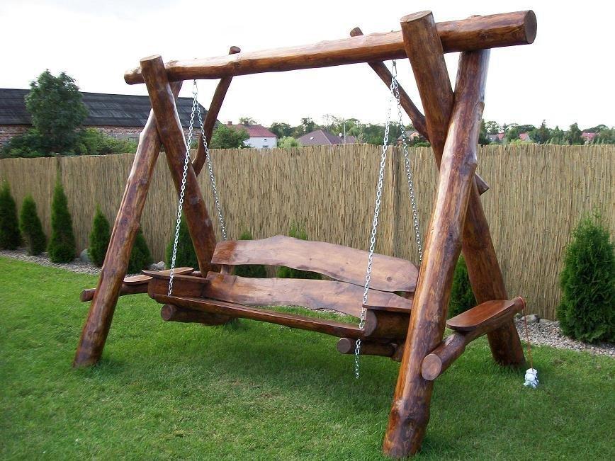Piekna Hustawka Ogrodowa Z Grubych Bali Drewniany 9227788962 Oficjalne Archiwum Allegro Wooden Swing Chair Outdoor Wooden Swing Wooden Swings