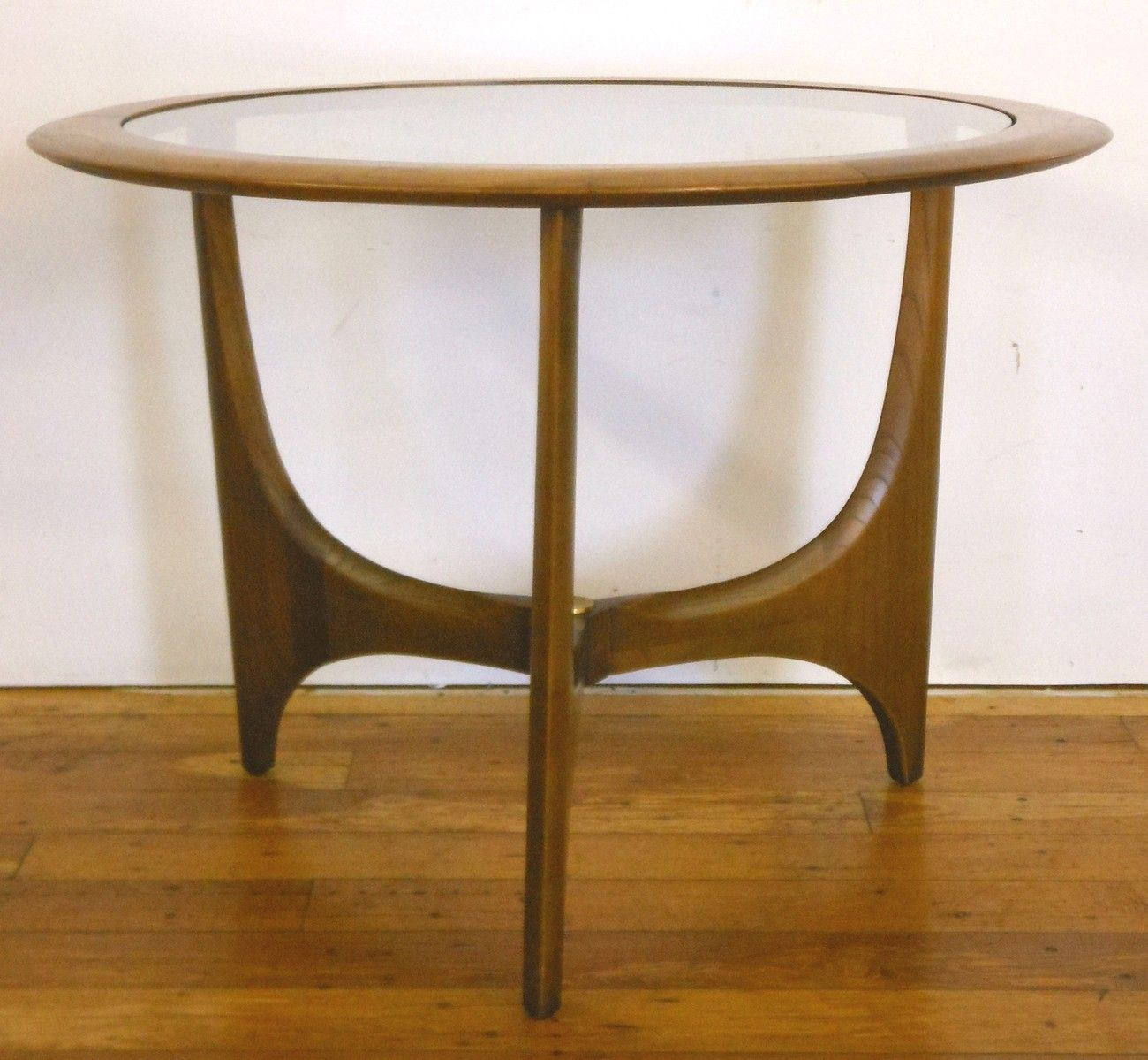 Vintage Mid Century Glass And Wood End Table By Lane Furniture Retro Side  Table
