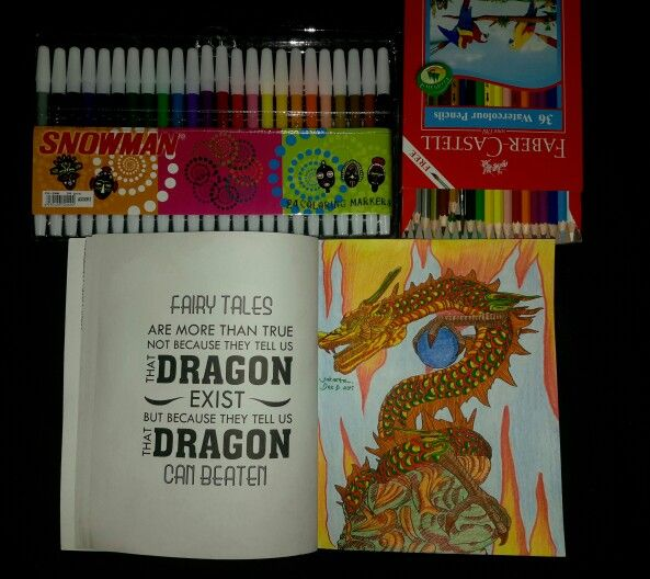 Coloring Book For Adults My Own World Renebook Antistress Dragon Snowman