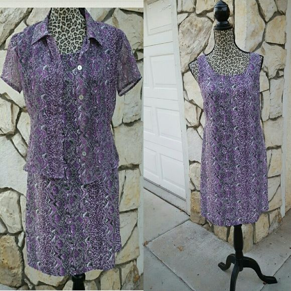 """Purple animal print 35.5"""" from shoulder to Hem lenght  Size 6 Two piece  DRESS sleeveless  And a sheer button or unbuttoned blouse  Purple white & black Hillard & Hanson Dresses"""