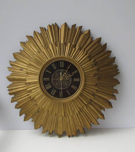 Vintage Waltham Sunburst Clock Wall Clock By