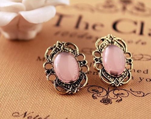 Vintage Inspired Light Pink Small Stud Earrings Whole