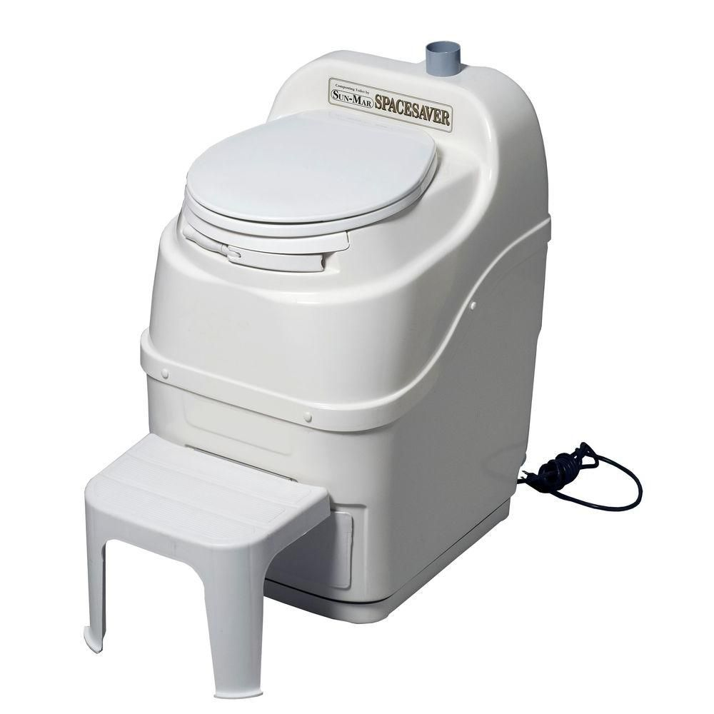 Sun-Mar Spacesaver Electric Waterless Self Contained Composting Toilet in White-SPACESAVER (white) - The Home Depot