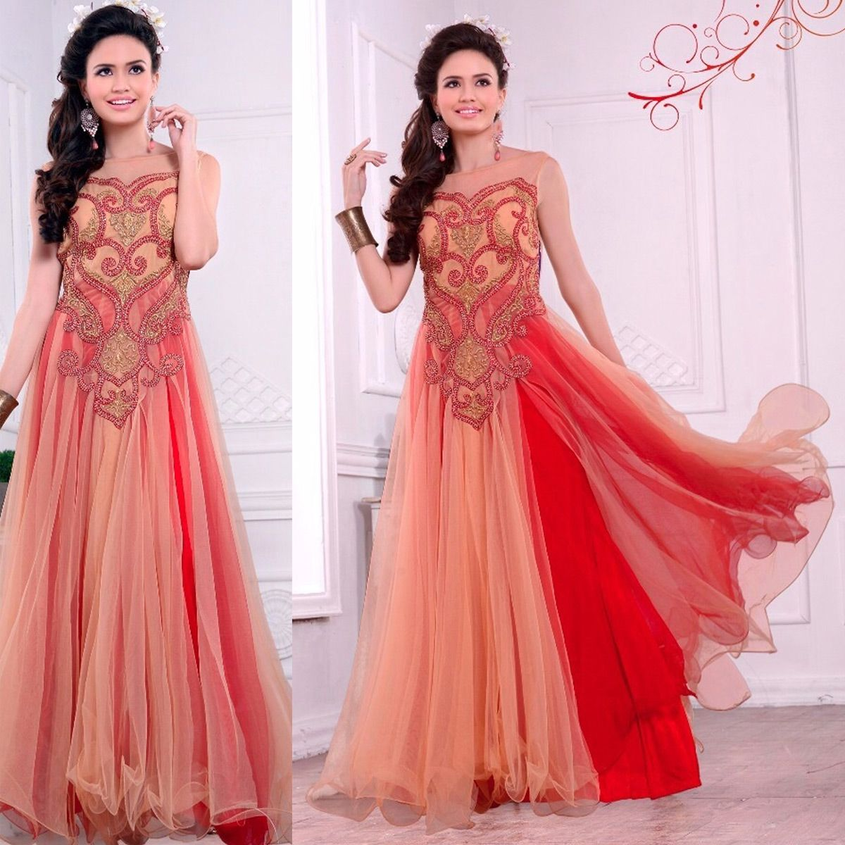 Peach And Red Net Embroidered Semi-Stitched Gown  e895323a6