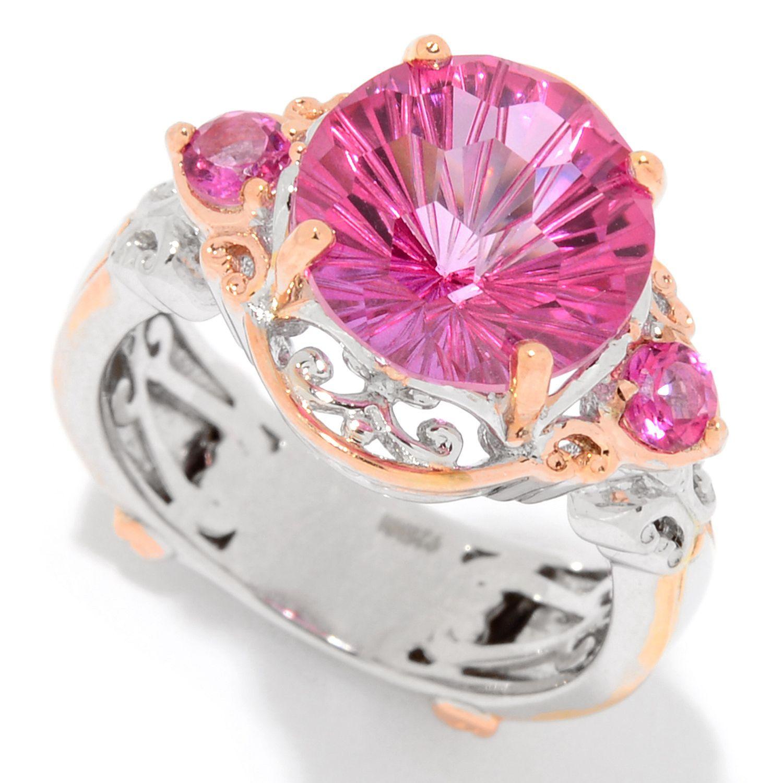 156-932 - Gems en Vogue 4.80ctw Honeycomb Cut Pink Topaz Fleur-de ...