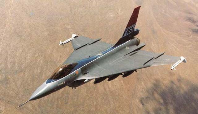 General Dynamics F-16XL, a F-16 with a double delta wing for increased carrying capacity.