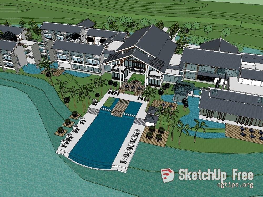 1194 Exterior Landscape Scene Sketchup Model Free Download
