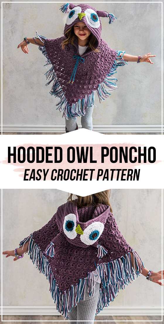 crochet Hooded Owl Poncho pattern