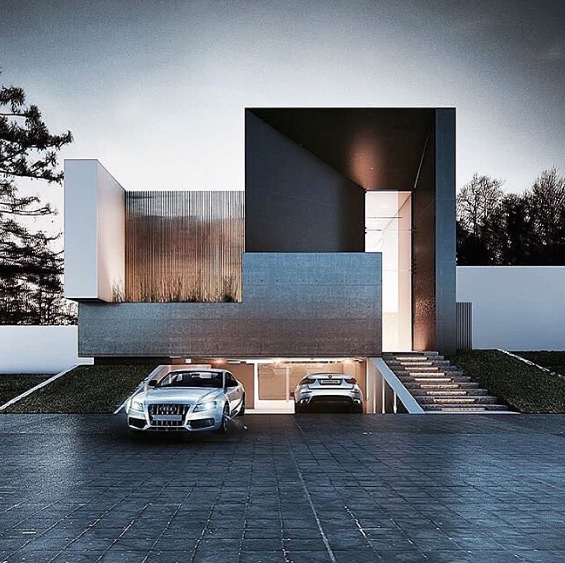 Ultra Modern Home Exteria Wood Accents Underground Garage Dream House