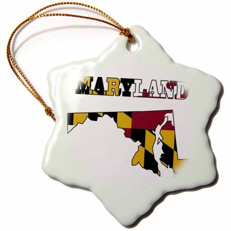 3dRose Maryland state flag in the outline map and letters for Maryland, Snowflake Ornament, Porcelain, 3-inch