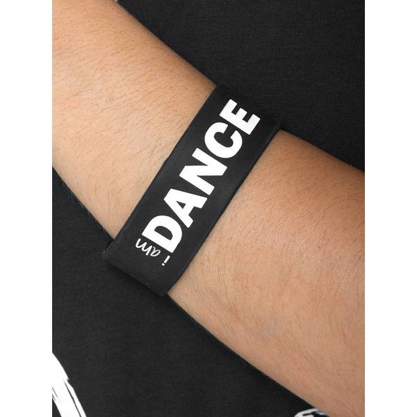 Peace Love World I am Dance Black Wide Silicone Bracelet (1.82 BAM) ❤ liked on Polyvore featuring jewelry, bracelets, wide bangle, peace love world and silicone jewelry