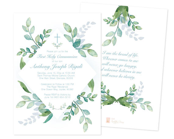 Boys First Communion Invite, Greenery First Communion, Boys First - editable leaf template