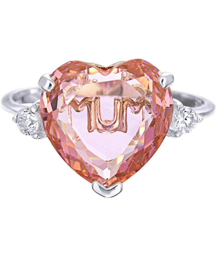 Buy Sterling Silver Pink Cubic Zirconia Heart \'Mum\' Ring at Argos.co ...