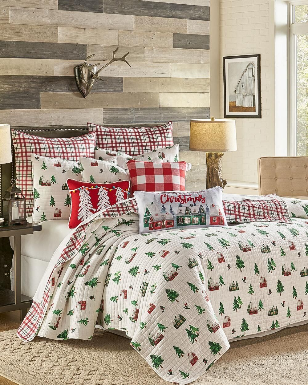 Exclusively Ours Ski Lodge Plaid Decorative Pillow Bedding