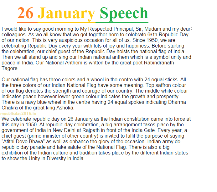 Speech On Republic Day In School | Happy Republic Day | Pinterest
