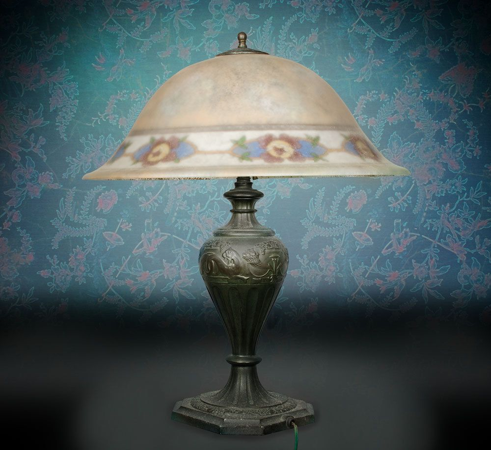 "Pairpoint reverse painted lamp 20"" Copley shade signed"