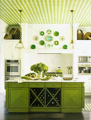 love this on so many levels - island, ceiling, plates, hydrangeas, baskets, TEAPOT!