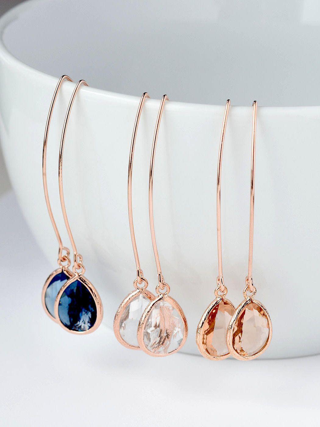 Clear Dangle Earrings April Crystal Quartz Birthday Drop 14K Gold-Filled Hook Gold Framed Glass Gem Elegant Bridesmaids Wedding Gift