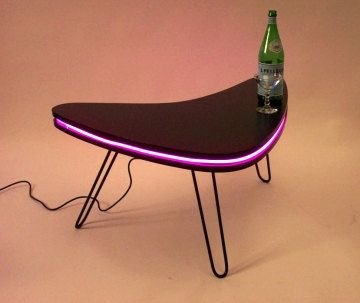 Boomerang Led Art Midcentury Modern Design Coffee Table With Hairpin Steel Legs Con Imagenes