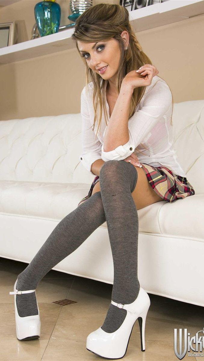 Stockings heels schoolgirl high