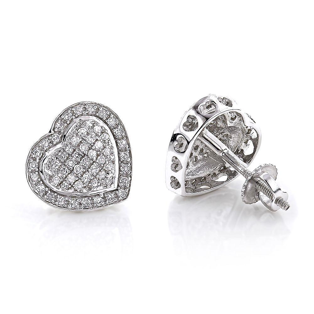 Diamond Heart Earrings Studs 10k Gold Pave Diamonds 0 5ct