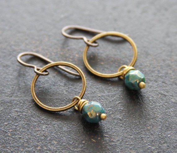 a91939990 Small Teal Brass Dangle Hoops, Teal Green Earrings, Small Hoop Earrings