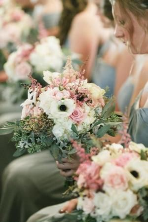 Sage Green Bridesmaid Dresses With Pink And White Wedding Bouquets