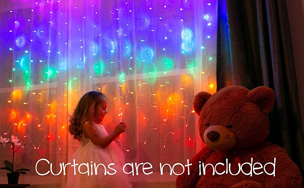Something Unicorn - LED String Curtain Lights with Dimmer Switch for Teen Room, Girls Room, C...