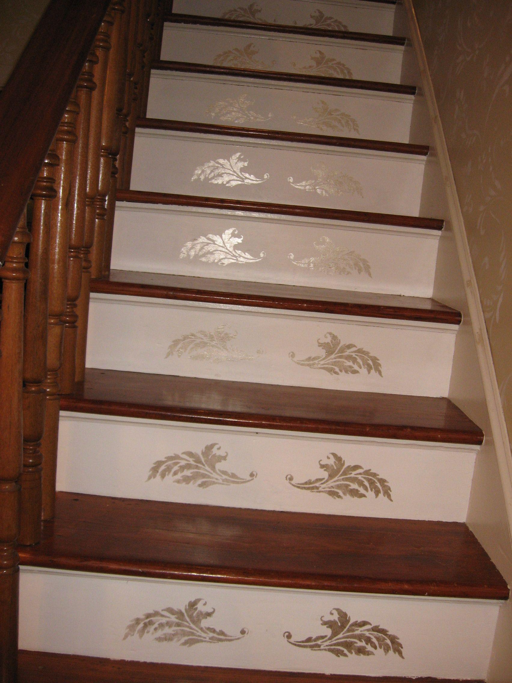 After   Subtle Gold Stair Riser Stencil
