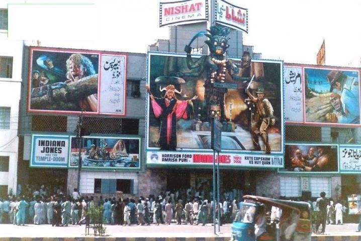 The premier of 'Indiana Jones and The Temple of Doom' at Karachi's Nishat Cinema, 1984. In 2012, the cinema was burned down by religious fanatics.