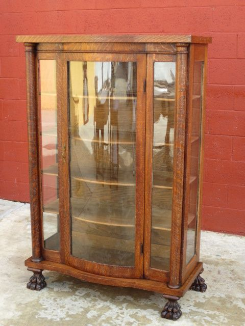 American Antique Bow Front China Cabinet DIsplay Cabinet Antique Furniture  - American Antique Bow Front China - Antique Display Cabinets With Glass Doors Antique Furniture