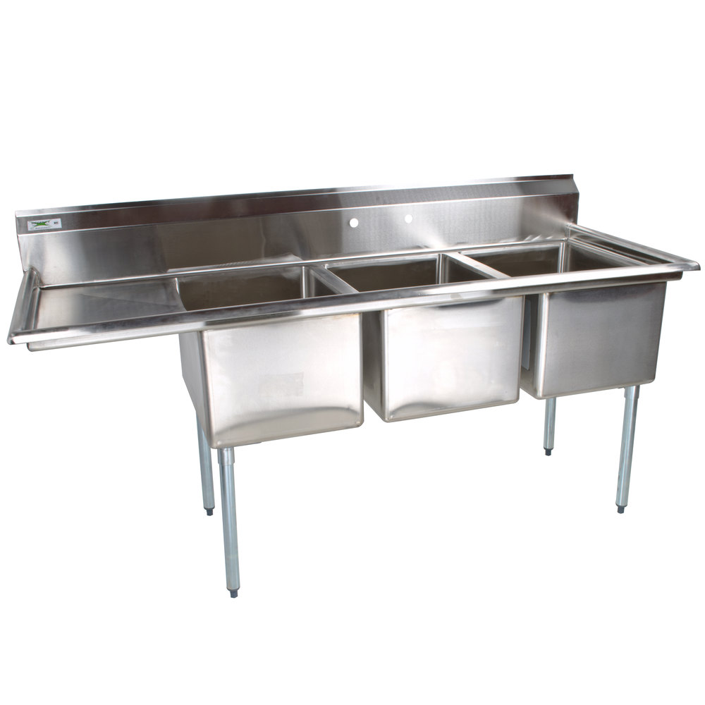 Install A Convenient Sink And Work Area In Your Business With The Regency Three Compartment Stainless Steel Commercial Commercial Sink Sink Commercial Kitchen