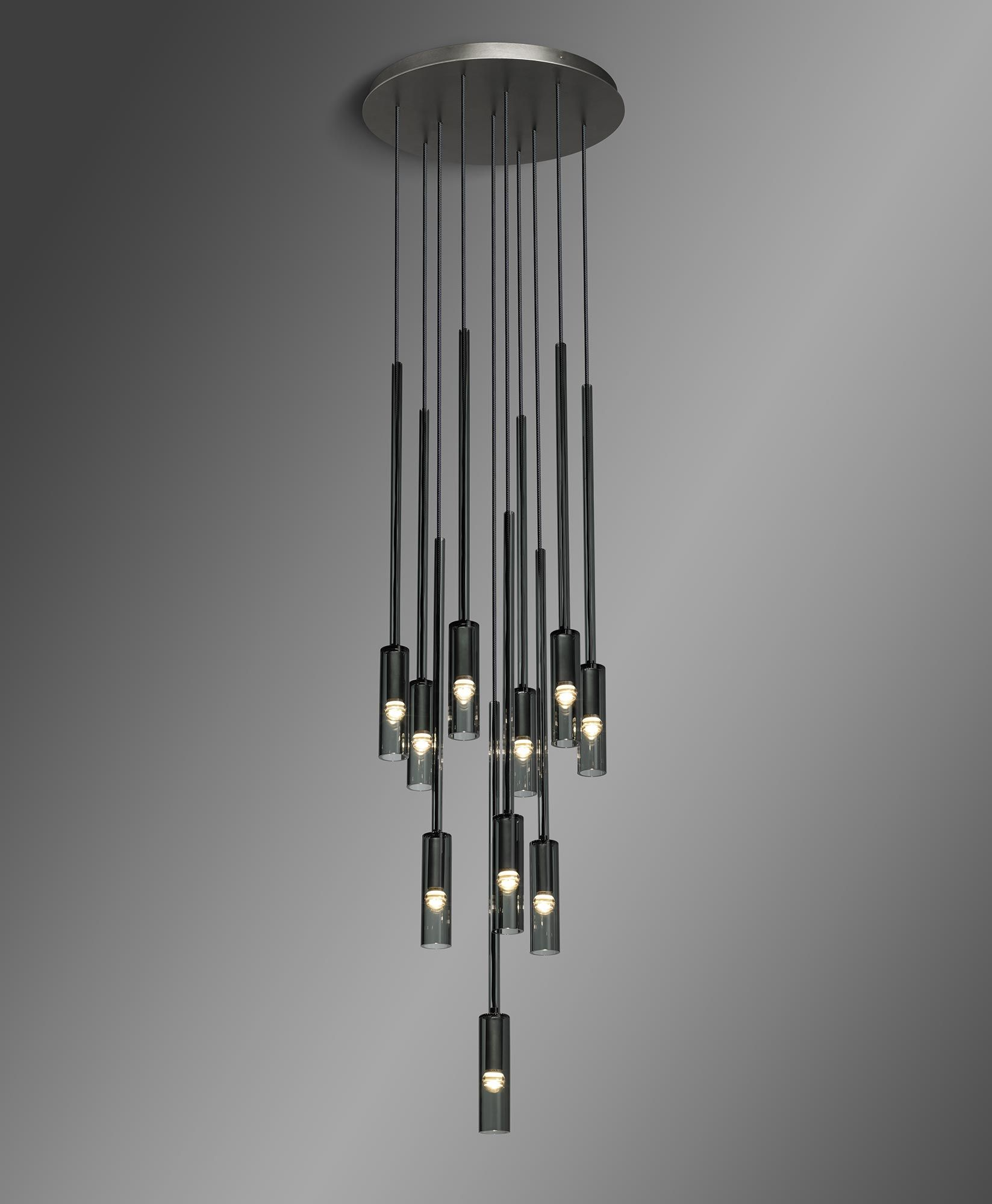 The Charlot Circular #Chandelier is made from smoked borosilicate ...