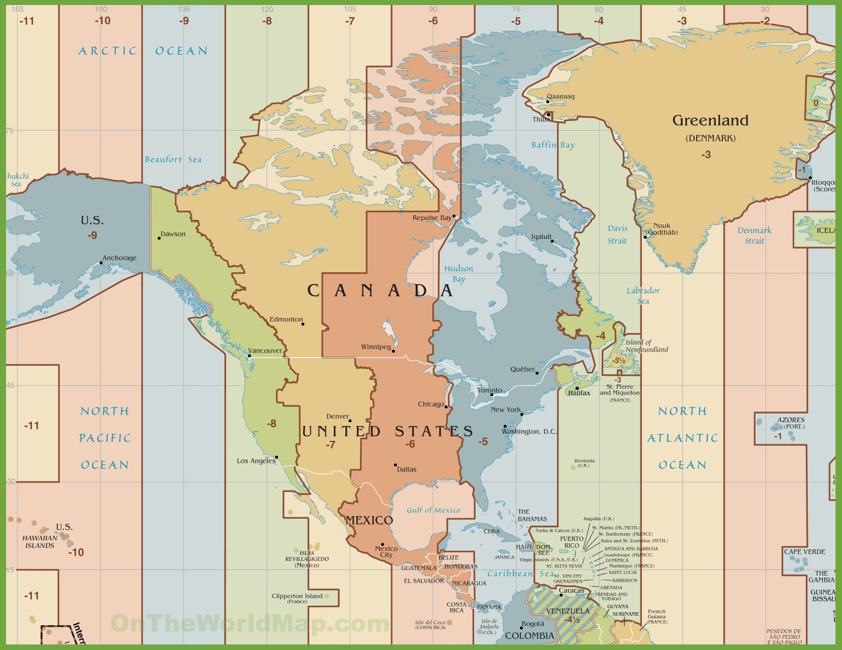 North America time zone map | pamokoms | Time zone map, Time zones, Map