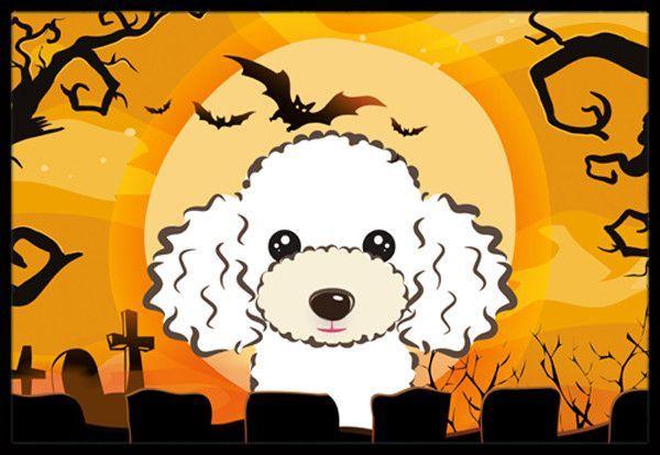 Halloween White Poodle Indoor or Outdoor Mat 18x27 BB1815MAT