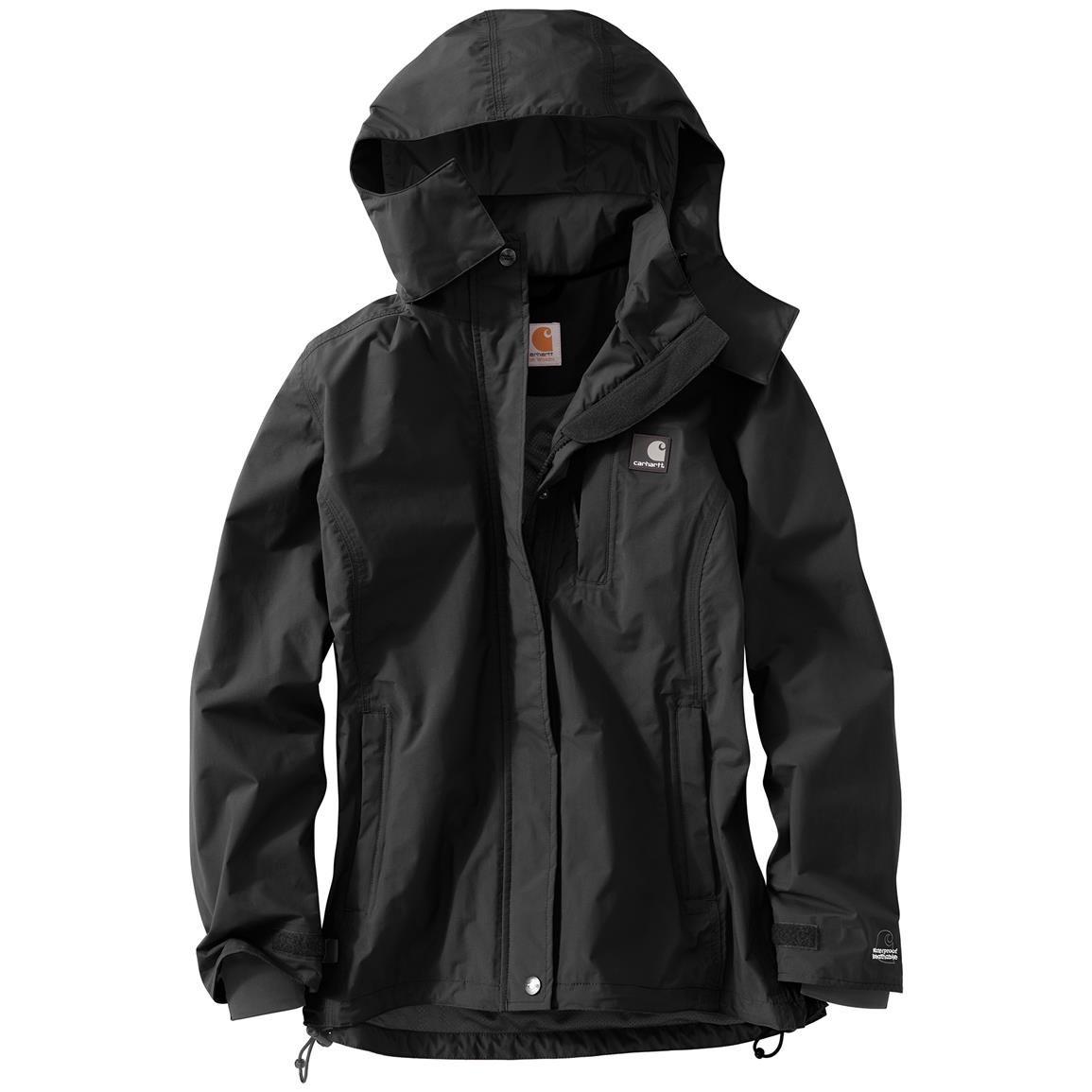 Carhartt Women S Cascade Hooded Jacket Waterproof 640244 Rain Jackets Rain Gear At Sportsman S Guide Carhartt Women Rain Jacket Women Fashion [ 1155 x 1155 Pixel ]