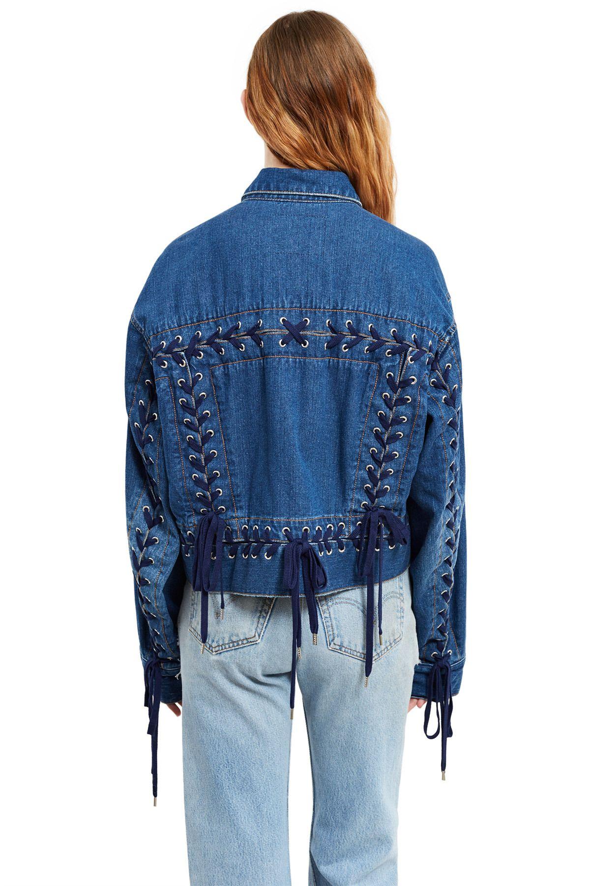 b9198fb988ba G.V.G.V., Denim Lace-Up Jacket This oversized denim jacket sports  G.V.G.V.'s signature