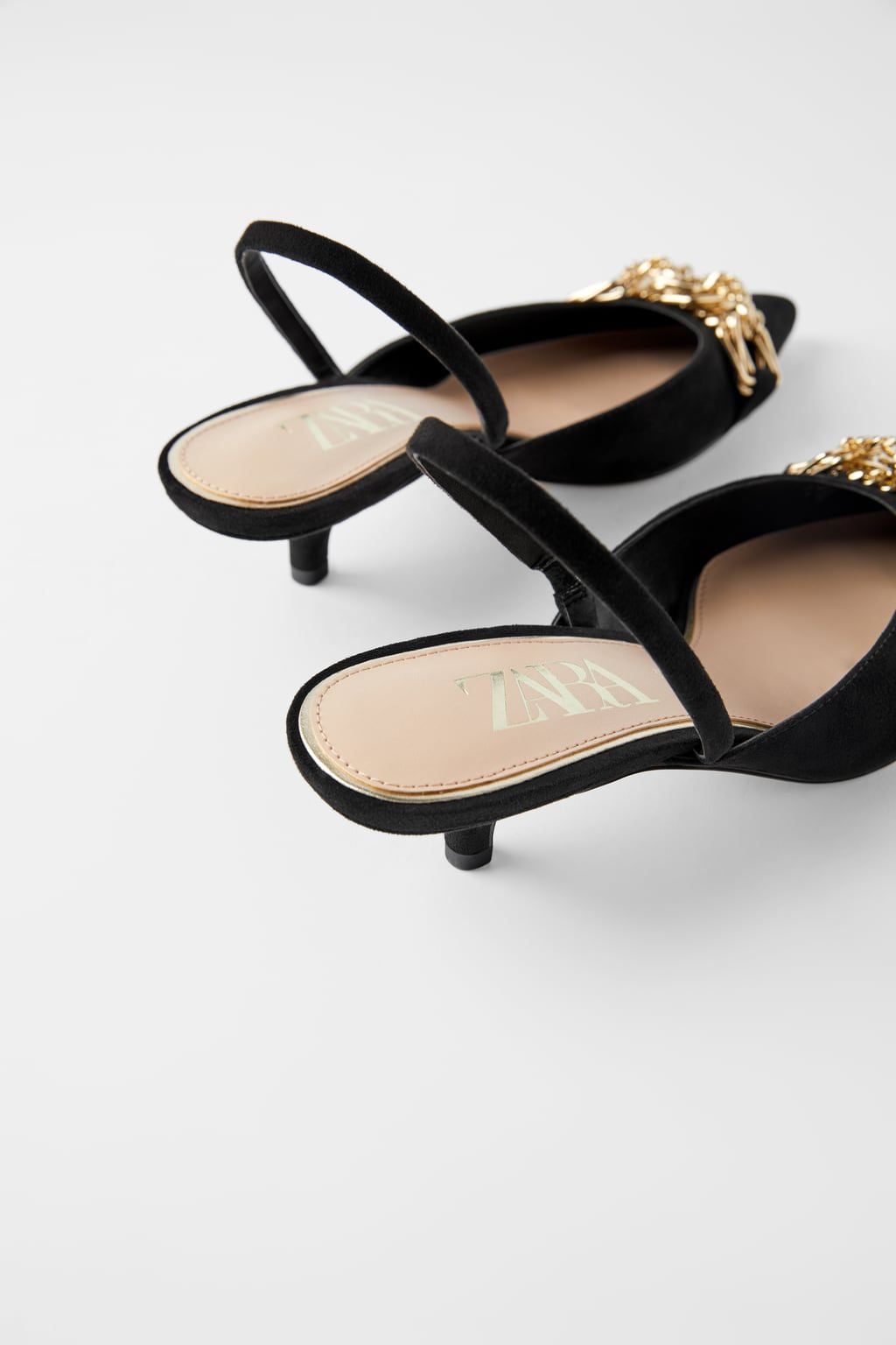 Slingback Kitten Heel Shoes With Metal Detail Zapatos De Tacon