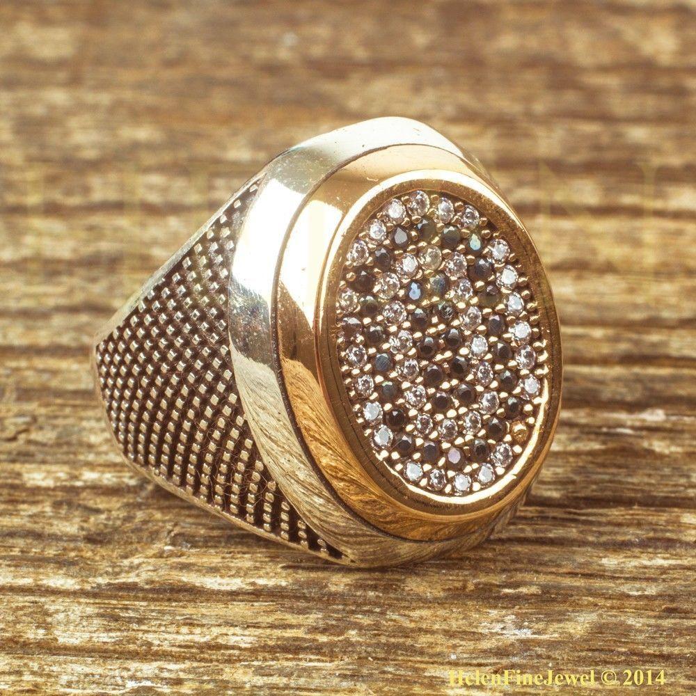 Sultan Suleiman Oval Shape Zircon Silver Man Ring Ottoman