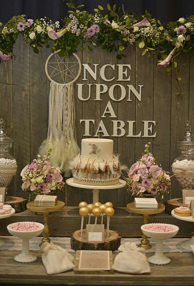 rustic bohemian chic dessert table wedding party ideas photo 2 of 42 catch my party boho on boho chic kitchen table decor id=95888