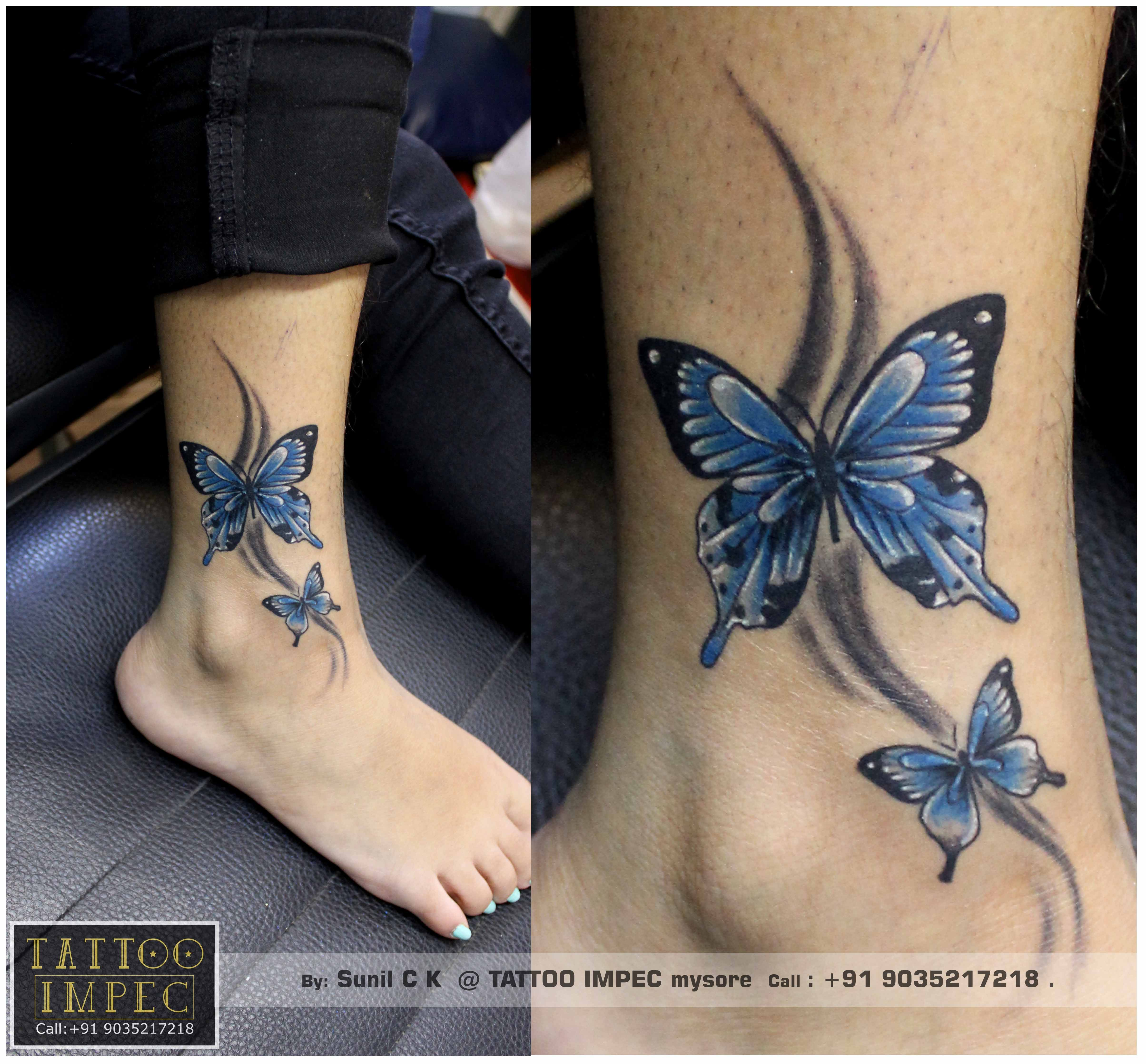Butterfly Tattoo Tattoo Tattoo Designs For Girls Blue Butterfly Tattoo Get Inked From Experienced Tattoo Pr Tattoos Butterfly Tattoo Butterfly Ankle Tattoos