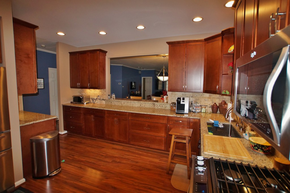After The New 42 Inch Tall Wall Cabinets With Crown Molding Look Much Better With The 9 Foot Tall Kitchen Ceiling And The New Recessed Lighting Ads The Perf Kitchen Cabinets Home
