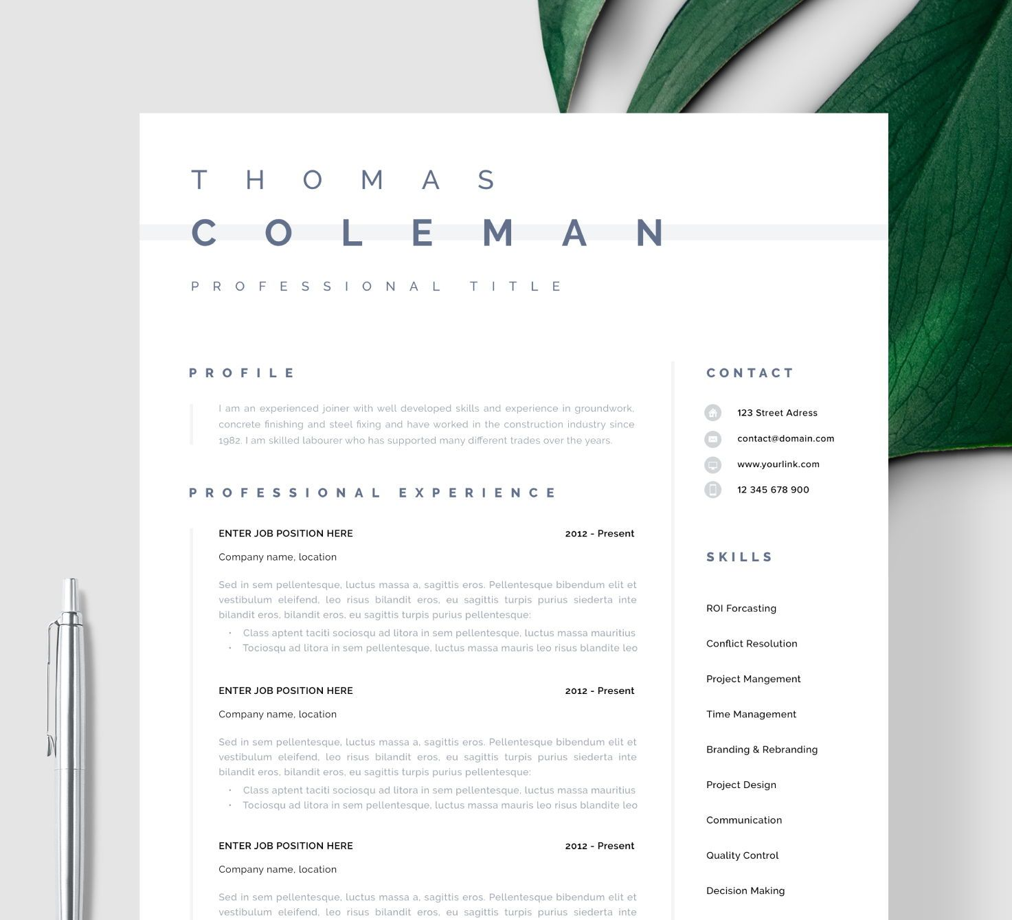 Resume Template Instant Download Word And Pages Simple