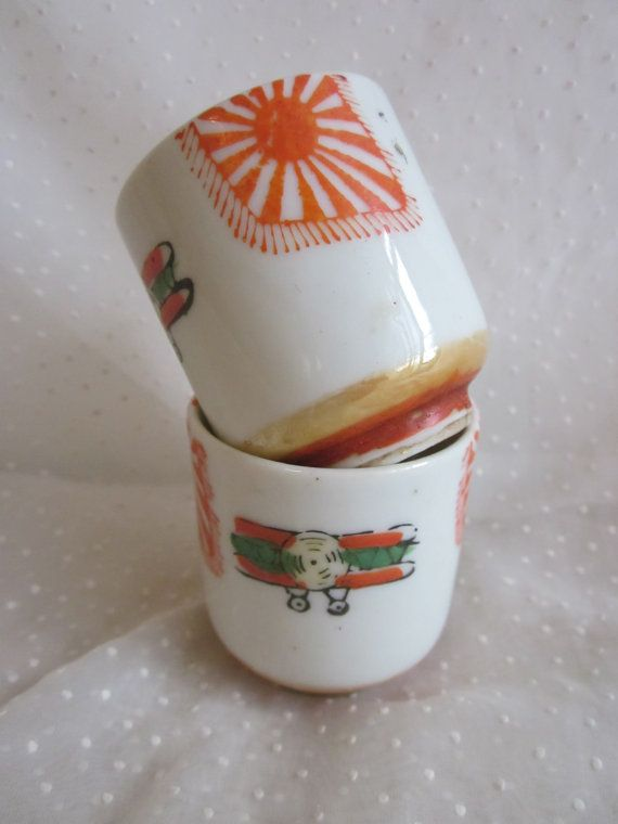 2 Pre WWII Imperial Japanese  Tea Cups With Airplanes and Flags, $29.99